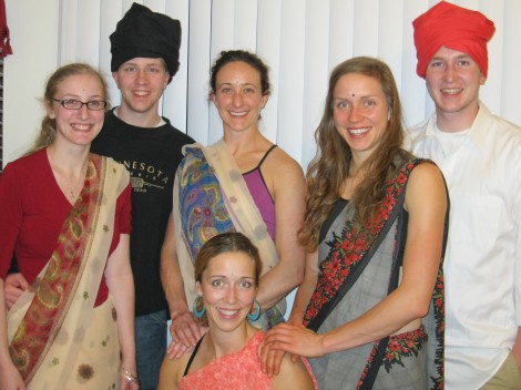 Faith, Ryan, Ellen, Molly, Bill and me in our 'best' Indian garb.